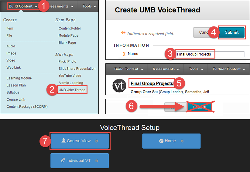 showing the locations for step two. UMB VoiceThread is under the Build Content menu. Name and Submit are on the Create UMB VoiceThread page.