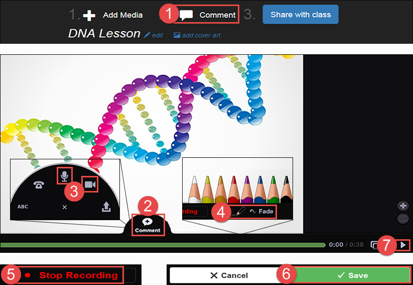 showing the locations for step four. With a slide open, the Comment Fan appears after clicking the comment icon, and the colored pencils appear during recording.