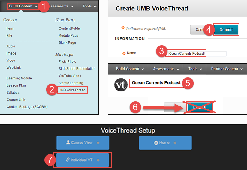 showing locations for step one. UMB VoiceThread is under the Build Content menu. Name and Submit are on the Create UMB VoiceThread page.