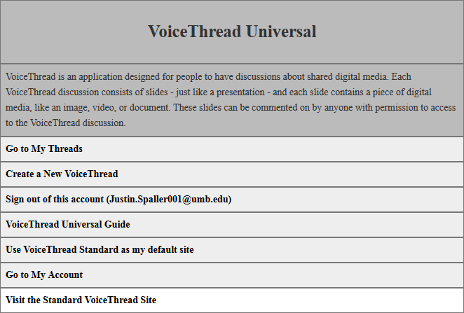 shows the visual representation of the VoiceThread Universal home page