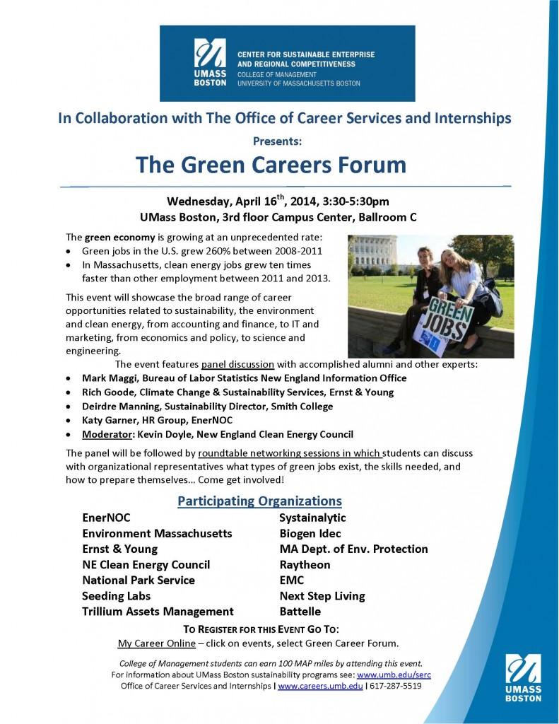 2014 Green careers forum flyer 4-4-2014
