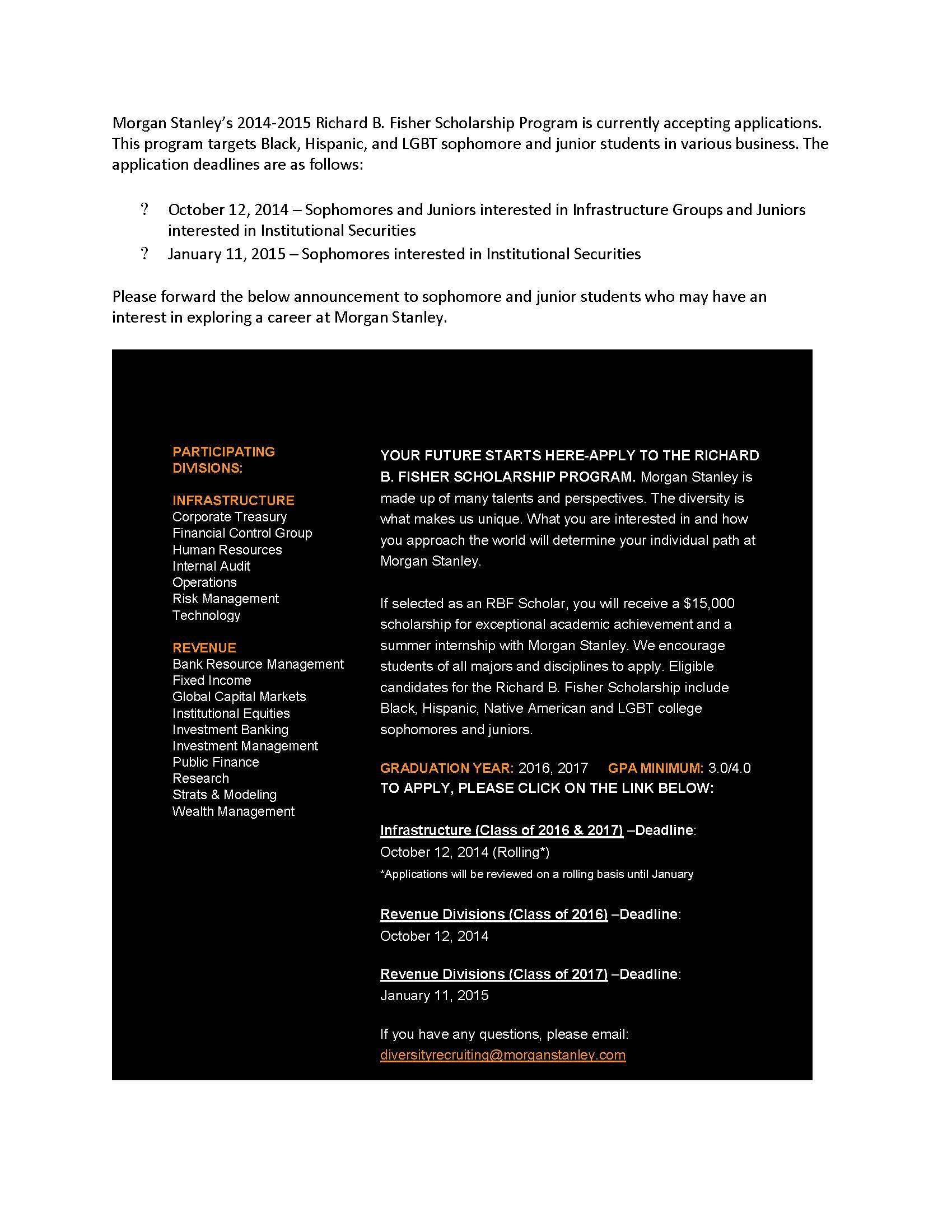 Morgan Stanley Scholarship Program Application Deadlines