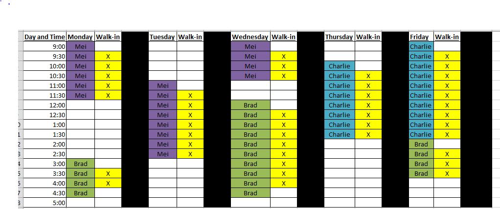 PCA Schedule
