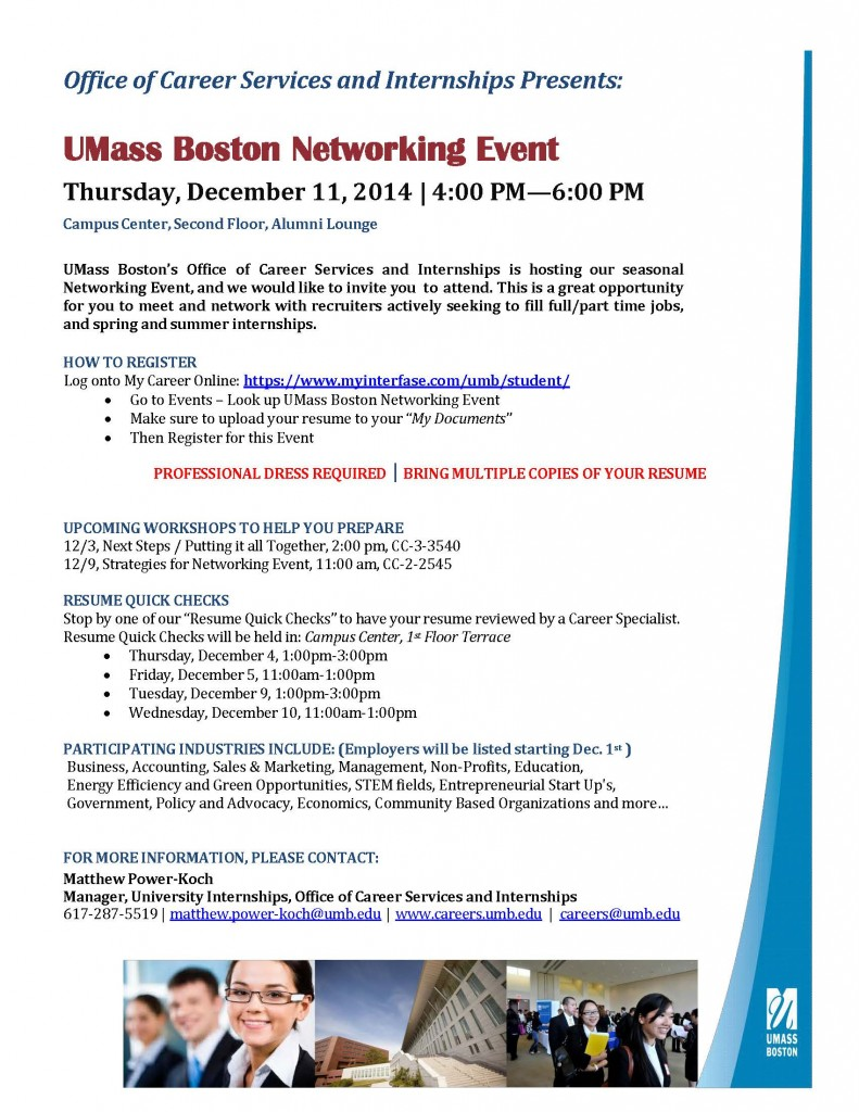 UMB Networking Event - Student Flyer 12 11 14