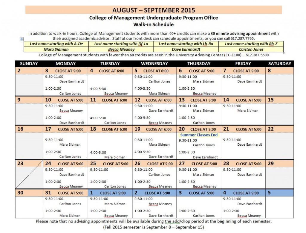 August-September 2015 Walk-Ins