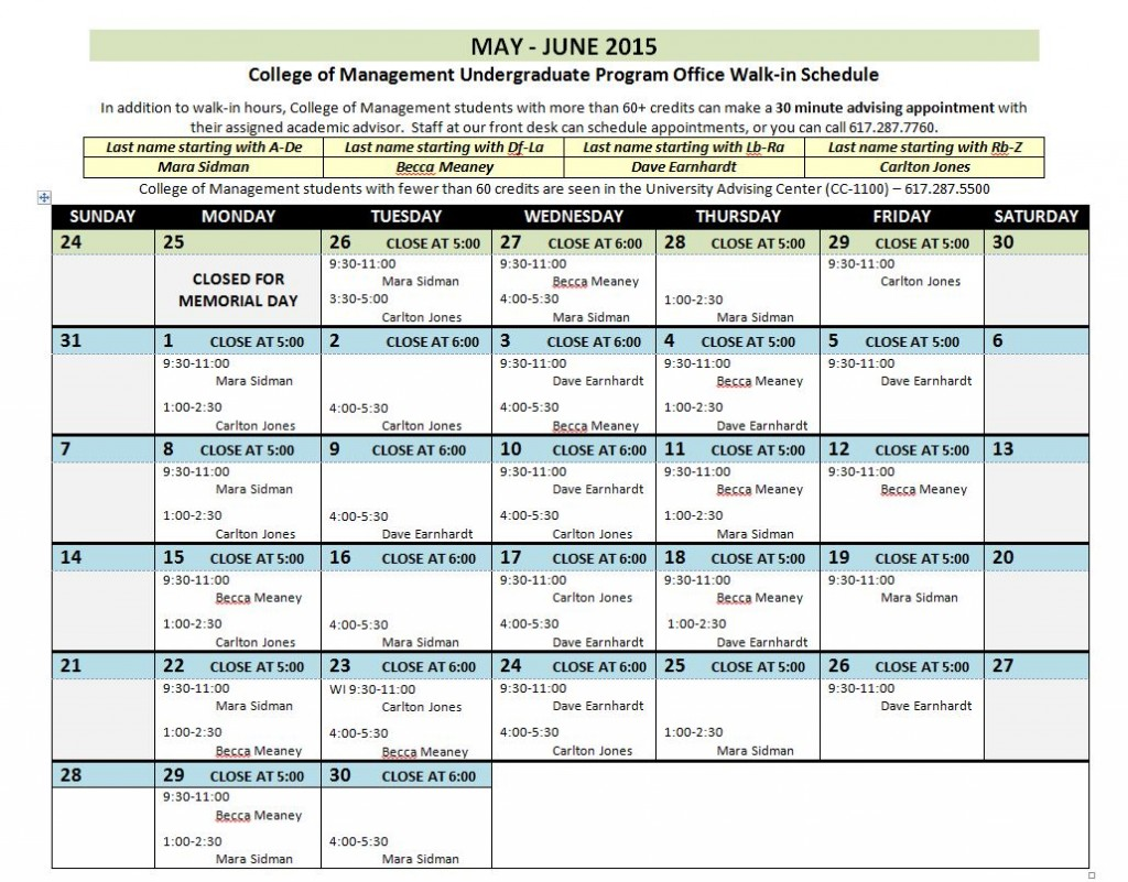 May-June 2015 Walk-Ins
