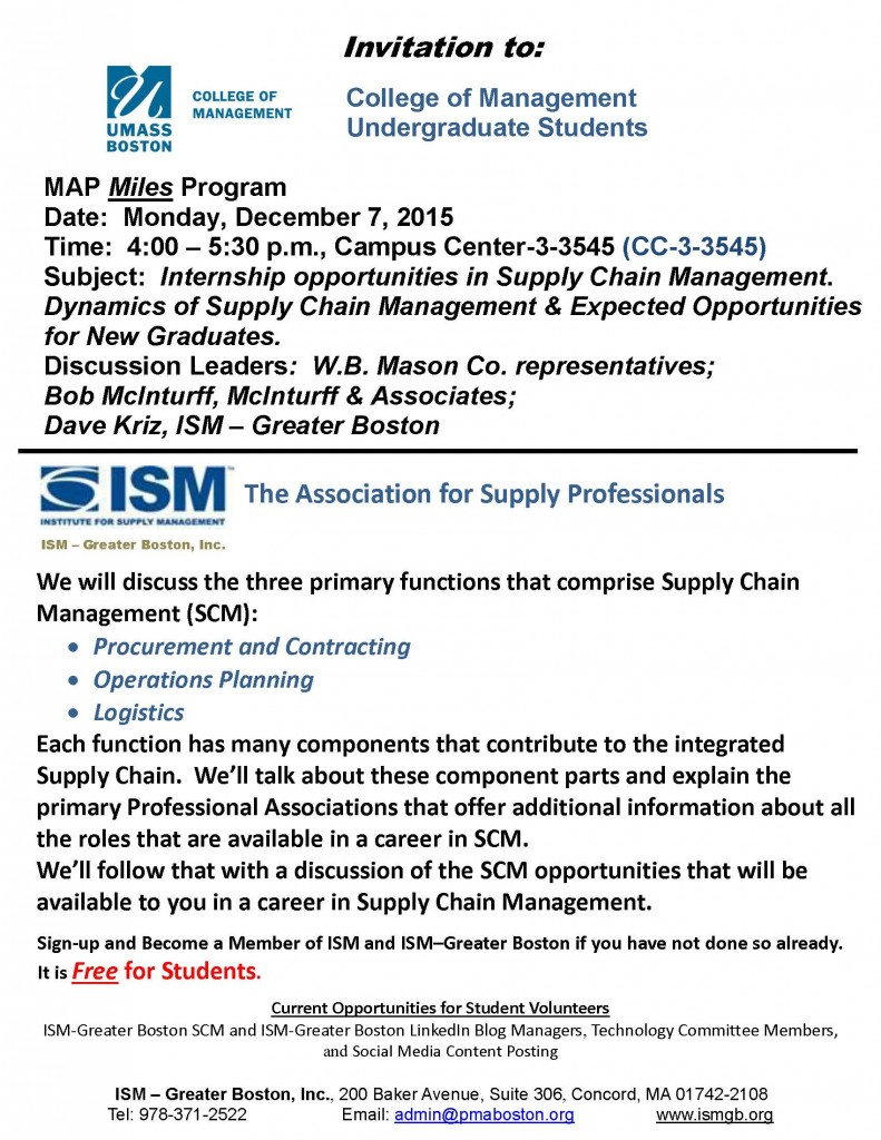 UMB Dec. 7 MAP Meeting