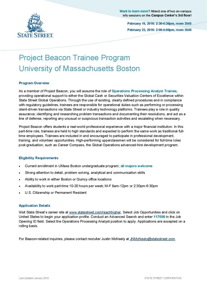 Project Beacon Trainee Program 2016