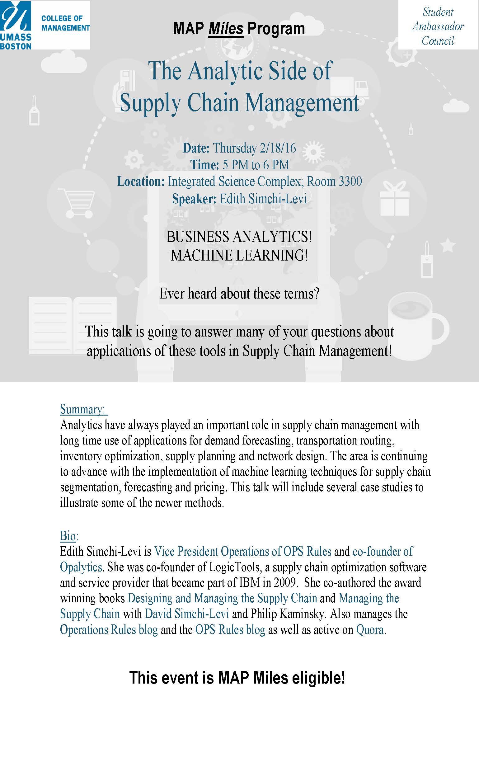 Supply Chain Speaker Series | College of Management