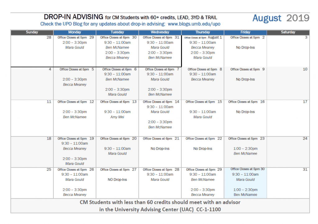 picture of August Drop-In Schedule