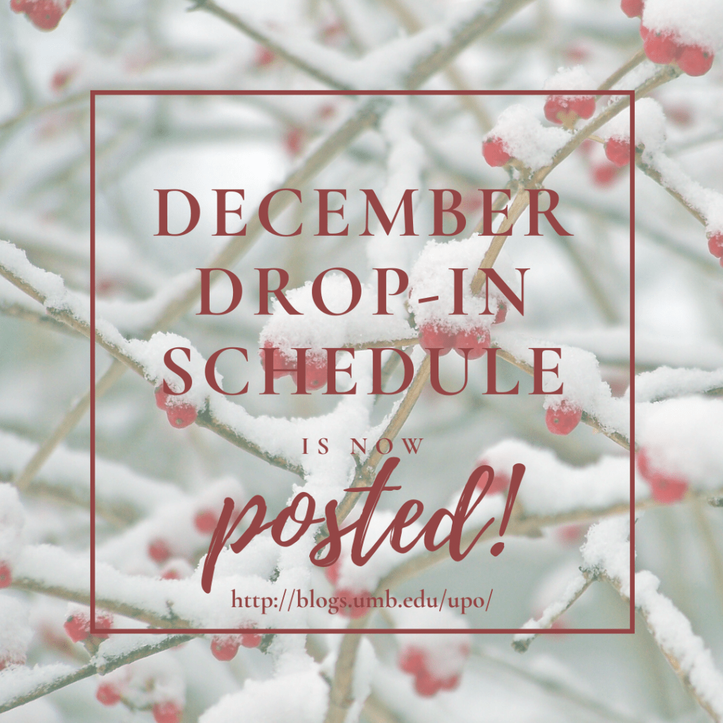 DECEMBER Drop-In Schedule Is Now Posted!