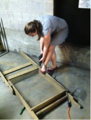 Carolyn repairs a shaker screen before it goes into the field