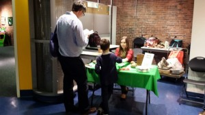 BCM Collections Intern Brittany Contratto does matching activity with visitors