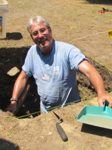 David Landon excavating on Burial Hill in PLymouth in 2014