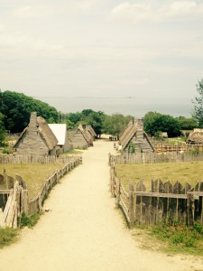 A view of the Plimoth Plantation living history museum.