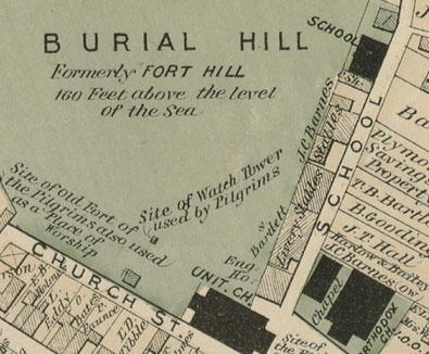 A section of the 1874 Beers map of Plymouth showing the buildings along School Street.  However, based on deed research the building owners listed on this map appear not to be correct in all cases.