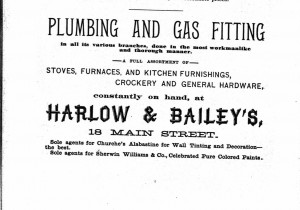 Ad for Harlow and Bailey in the 1890 Plymouth Directory.