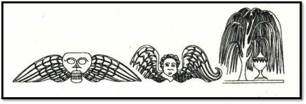 Drawings of the death's head, cherub, and willow & urn gravestone iconography. (Image from NMSC Archaeology Lab).