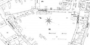 A section of the 1885 Sanborn map showing buildings on School Street.  Note that some buildings have been demolished since the 1874 map and others have been reconfigured.