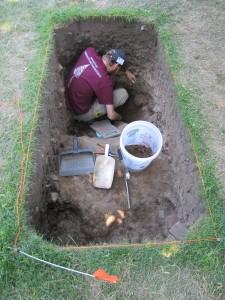 Jared excavating EU5 in a possible older cellar cut.