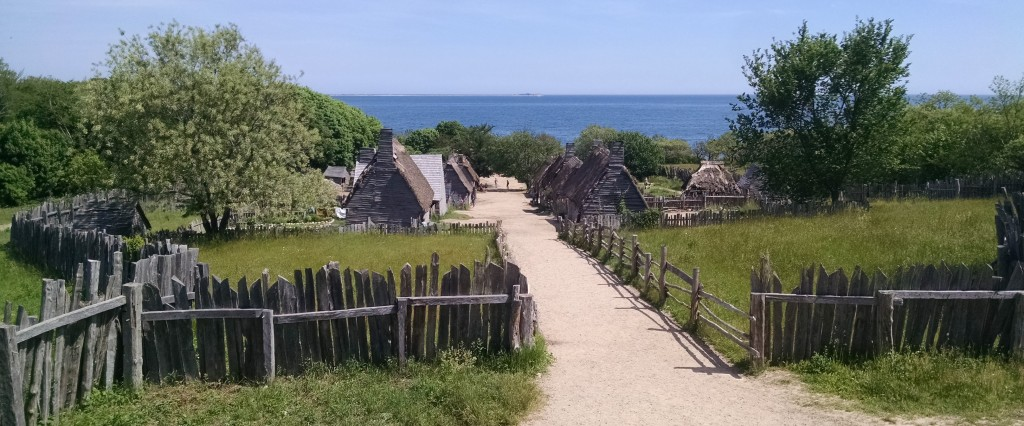 View of Plimoth Plantation, a reconstruction based on the museum's best understanding of the appearance of the early 17th-century town.
