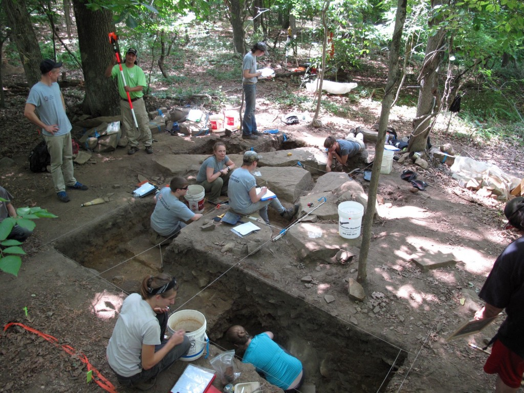 The Mohegan Archaeological Field School excavates an eighteenth-century domestic site, July 2015. This photo is from a forthcoming article by Craig Cipolla and James Quinn that will appear in the Journal of Community Archaeology and Heritage.