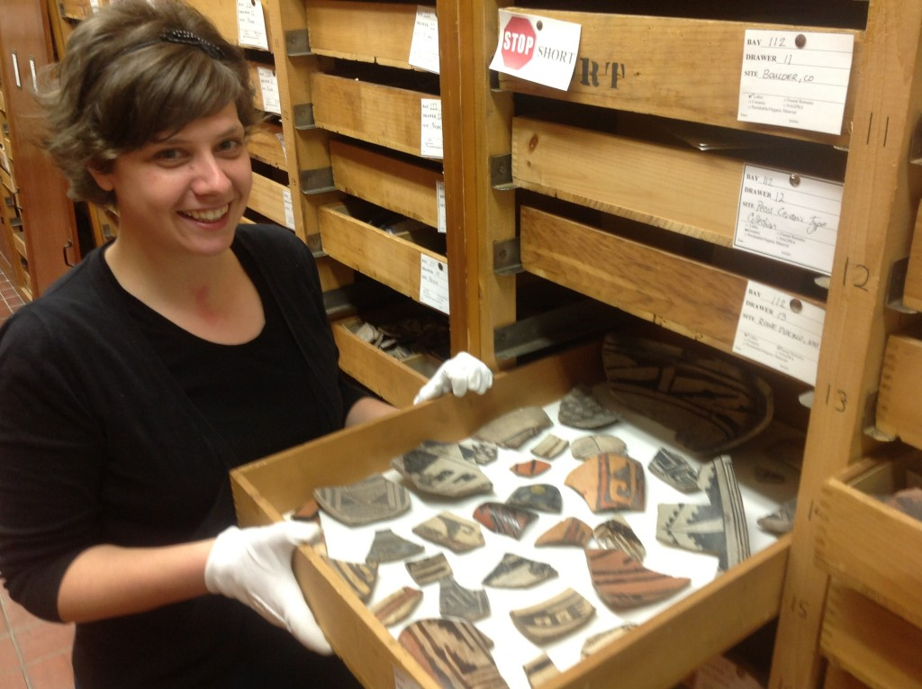Lindsay with collections from Pecos, New Mexico, excavated by Alfred Kidder and curated at the Peabody Museum in Andover.