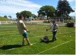 Figure 1. Brian Damiata conducting a GPR survey in Plymouth.