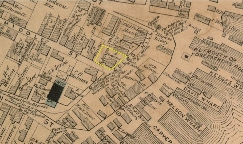 Figure 2. The Cole's Hill lot on the 1874 Beers map.