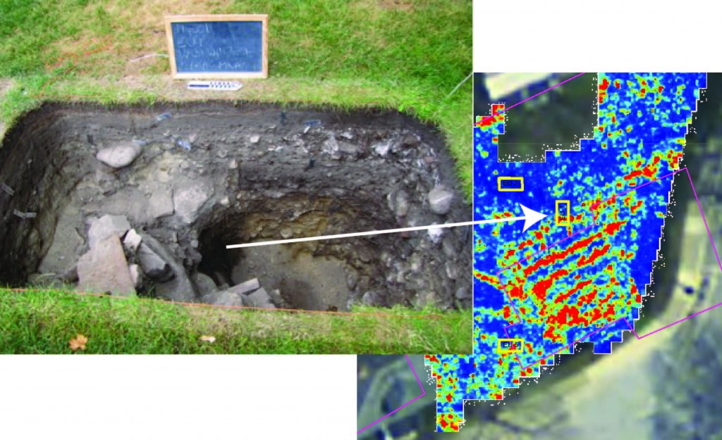 Figure 7. Foundation wall in EU1 with the 47-73 cm bs GPR slice.