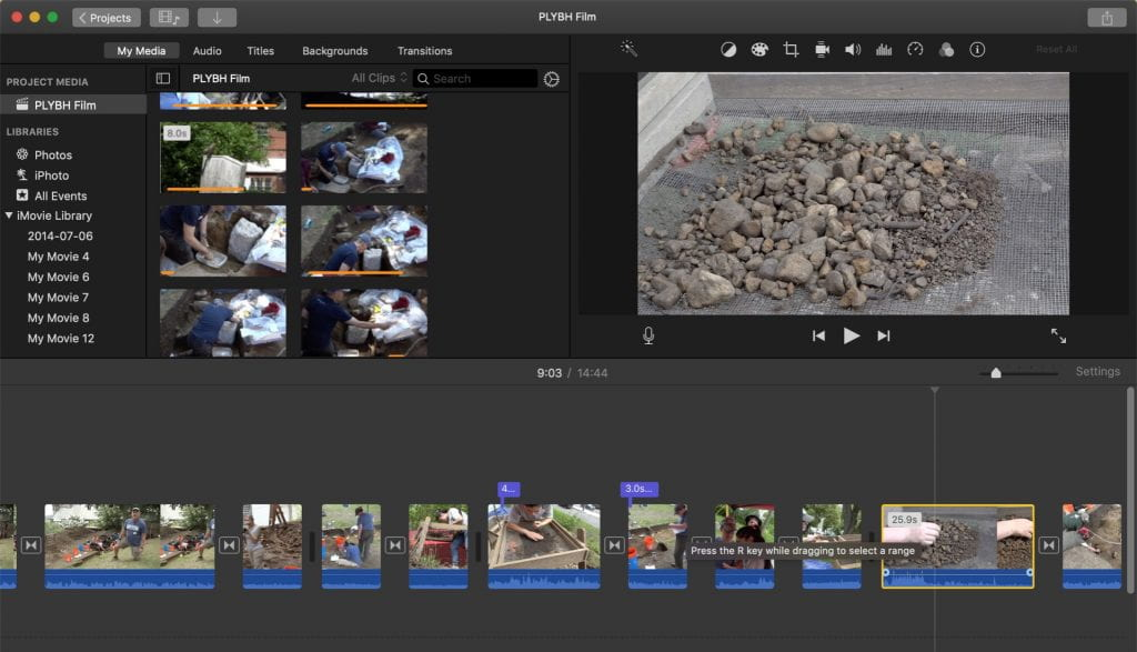 Screenshot of the editing software with several clips queued up. Photo by author