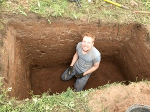 Eric Johnson as he steadily excavates Test Pit 1 at Ás.