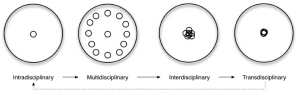 """A modified illustration of Alexander Jensenius' """"Disciplinarities"""" discussion. Small circles and their placement represent the interaction of academic studies according to each disciplinarity."""