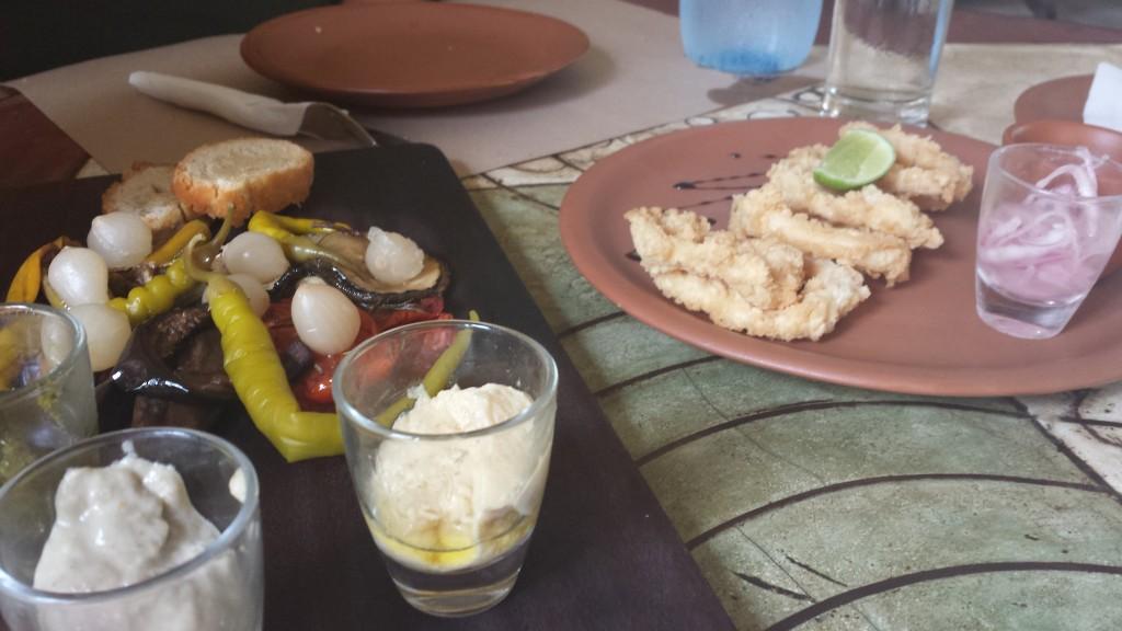 Vegetable platter with hummus, pesto, and baba ghanoush and calamari