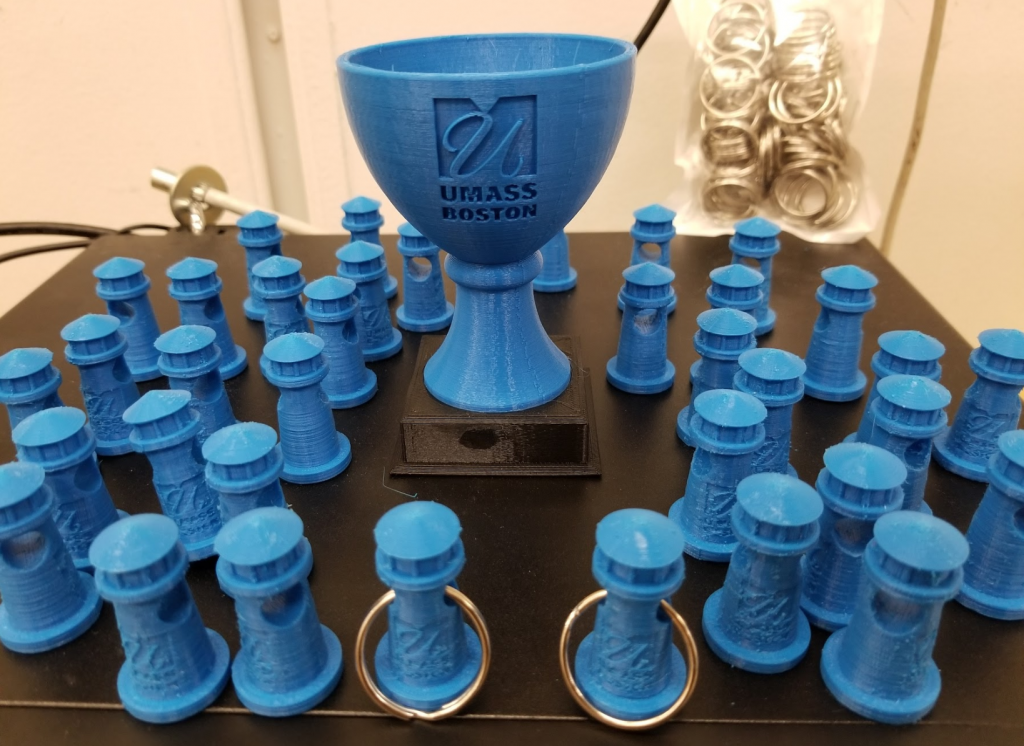 Printed lighthouse keychains and a big trophy