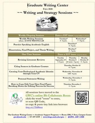 GWC Open for 1-1 Tutoring, Fall 2020
