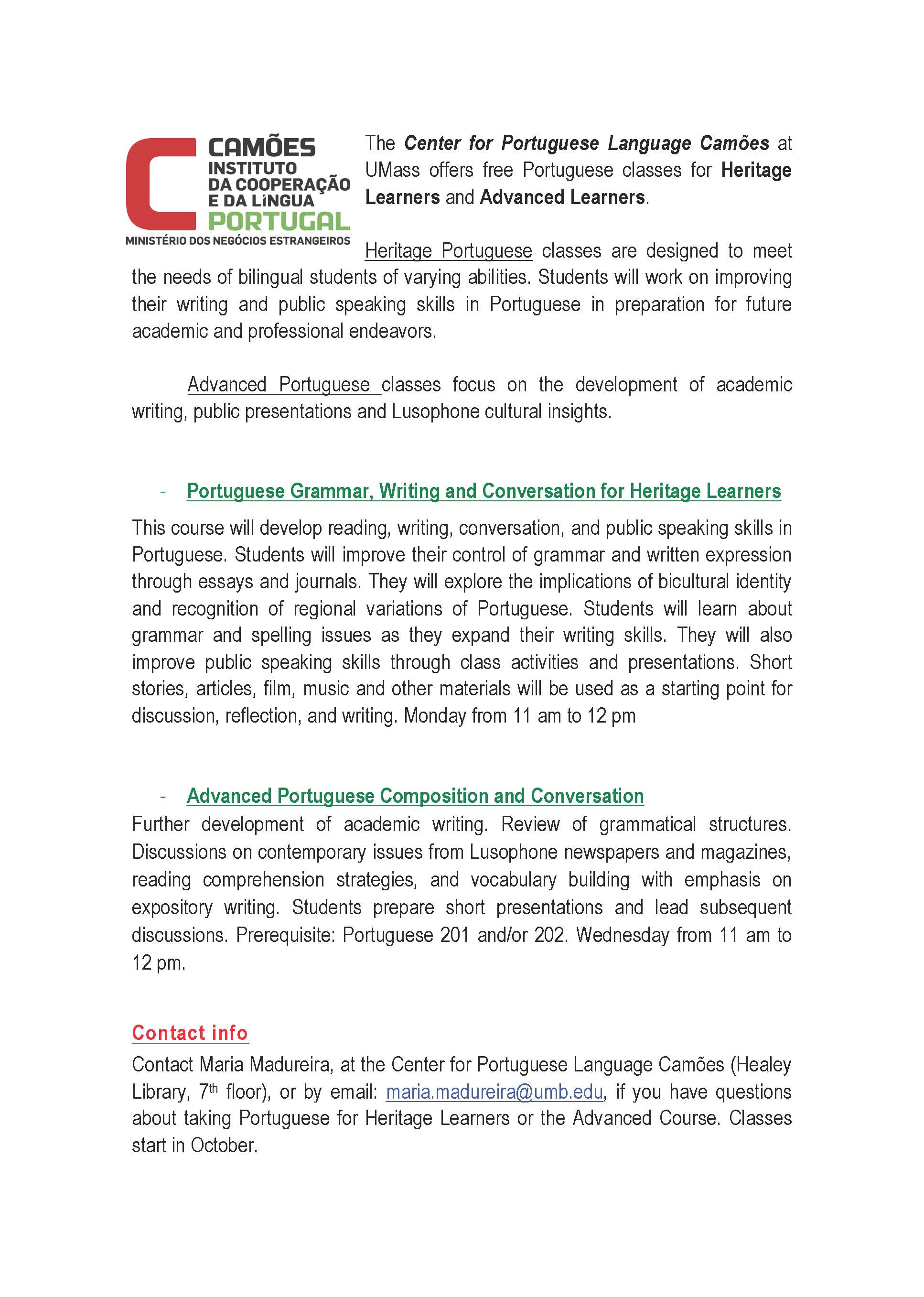 The Center for Portuguese Language Camões - free classes
