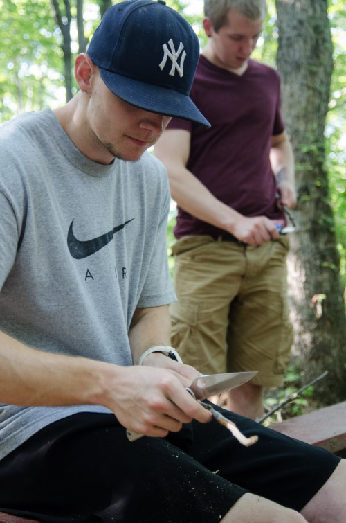 Justin and Tyler, whittling