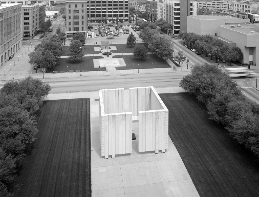 Figure 12.3 Philip Johnson's Kennedy Memorial Plaza from Dallas County Courthouse Roof. Bryan Cabin is in the distance.© 1999 Paul Hester, from a project by Frank D. Welch, published as Philip Johnson & Texas, University of Texas Press.