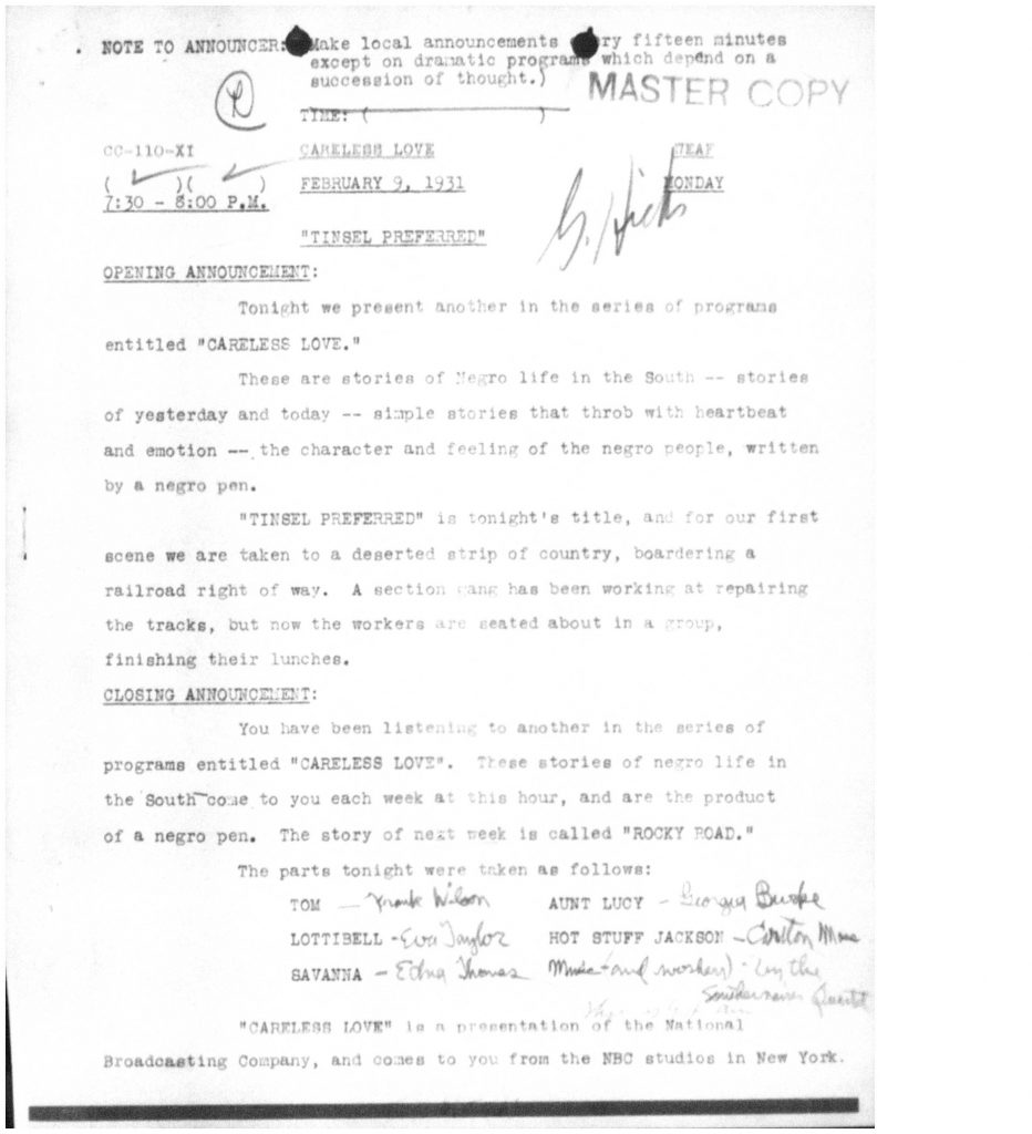 "Microfilm copy of script for 1931 radio show ""Careless Love"""