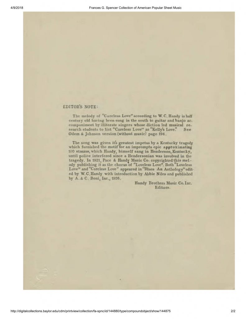 """Editor's note for 1945 printing of W. C. Handy's """"Careless Love"""""""
