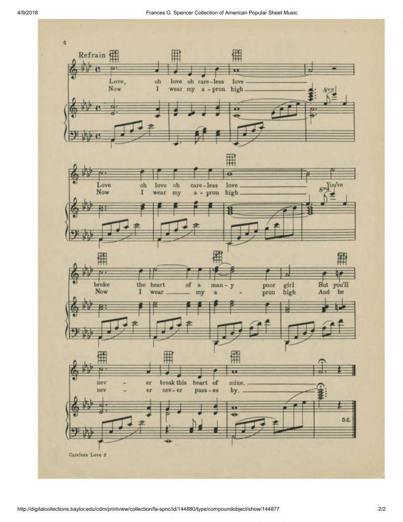 "Sheet music for 1945 printing of W. C. Handy's ""Careless Love"""
