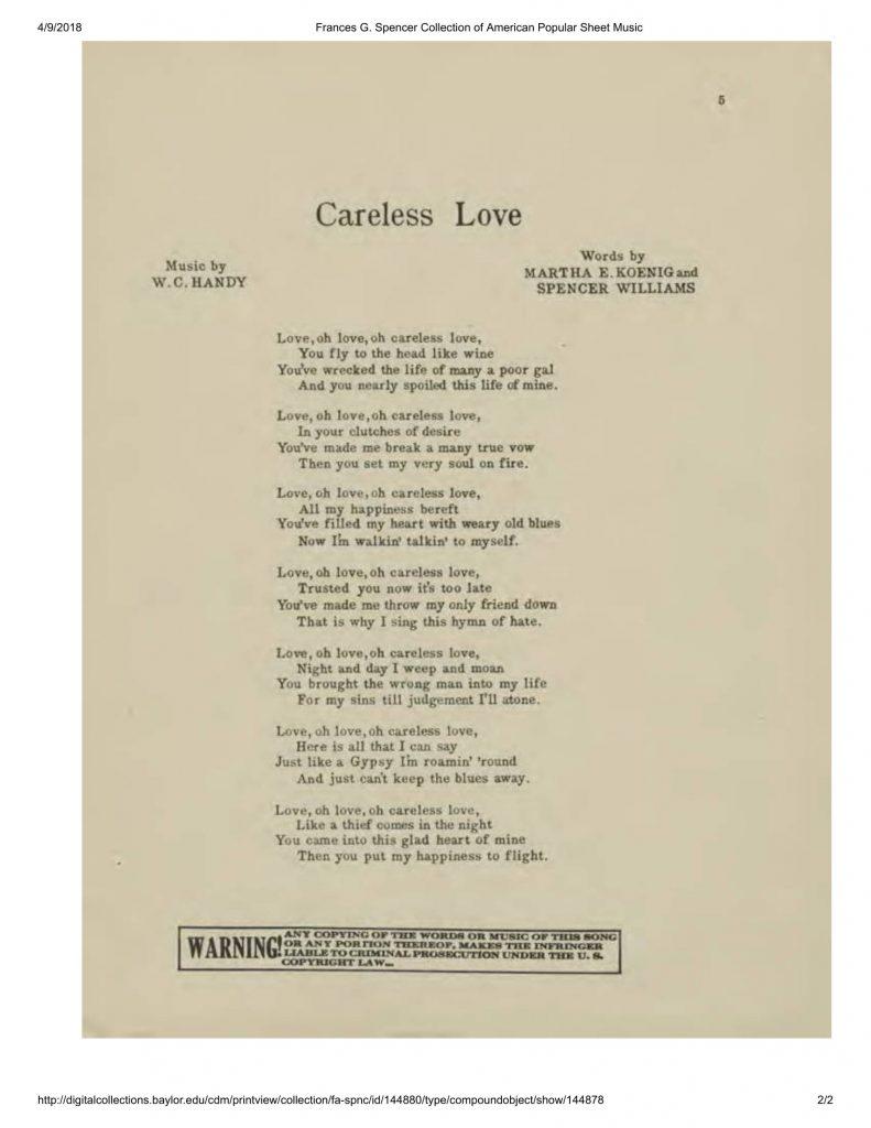 "Lyric sheet for 1945 printing of W. C. Handy's ""Careless Love"""