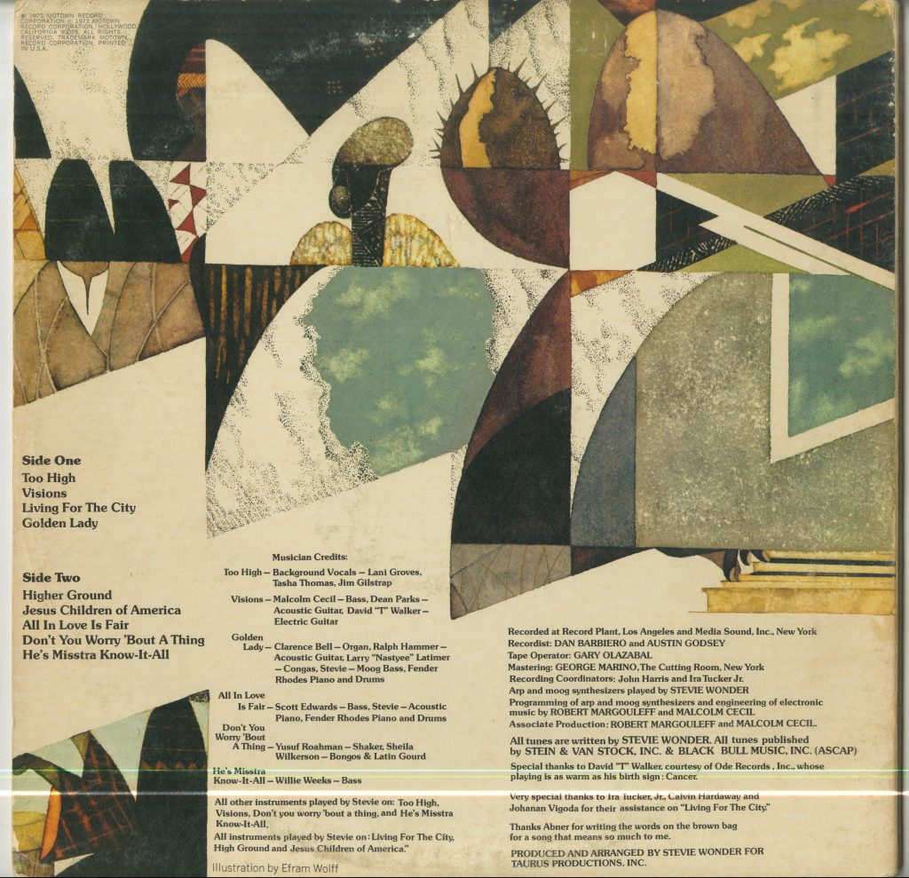 Album art and performance credits for Stevie Wonder, Innervisions