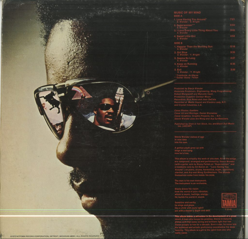 Back of album cover for Stevie Wonder, Music of My Mind