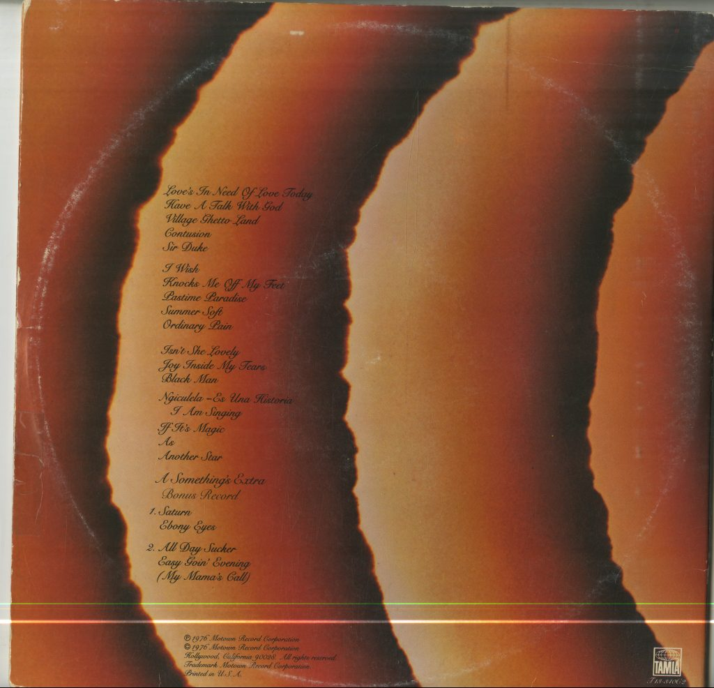 Album cover with track listings for Stevie Wonder, Songs in the Key of Life