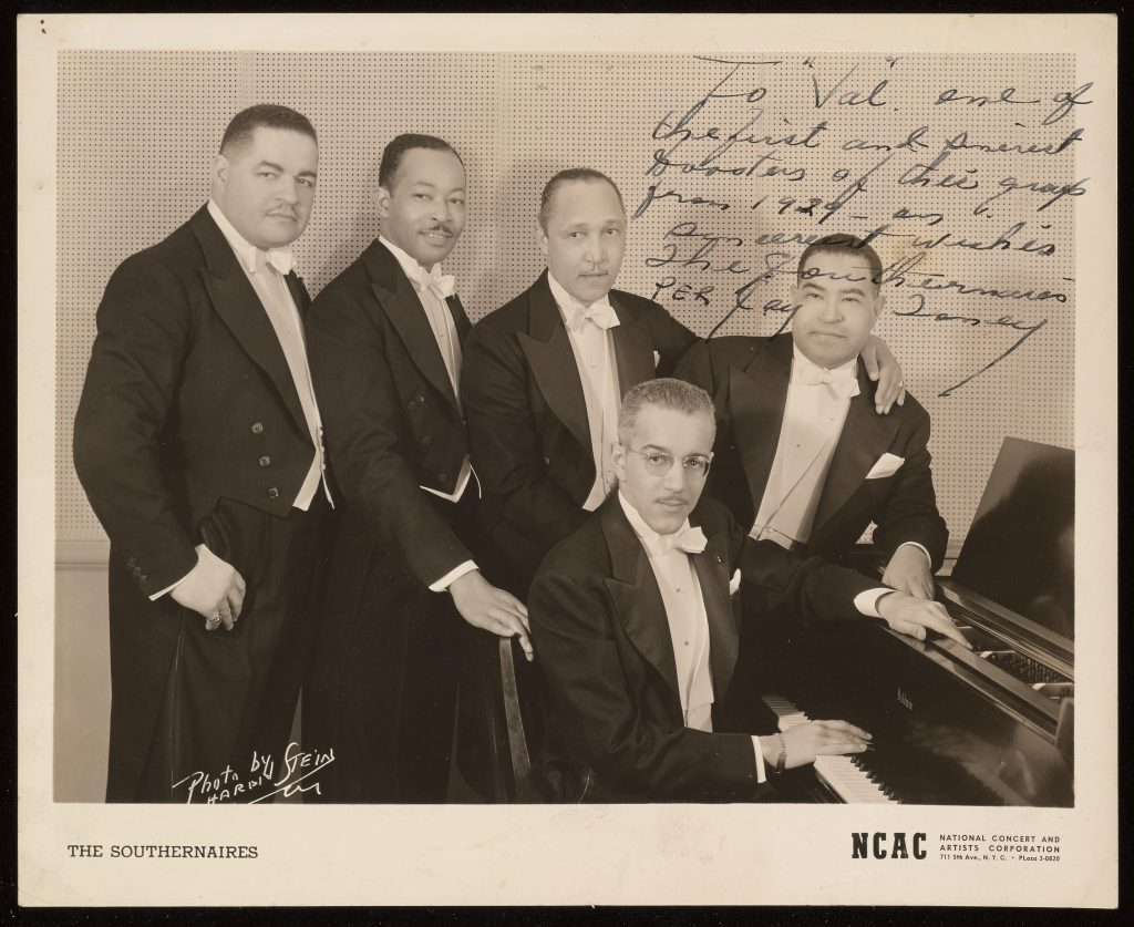 Photo of The Southernaires, a New York gospel quartet, held by the Library of Congress