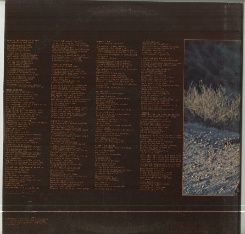 Back cover with lyrics for Stevie Wonder, Talking Book