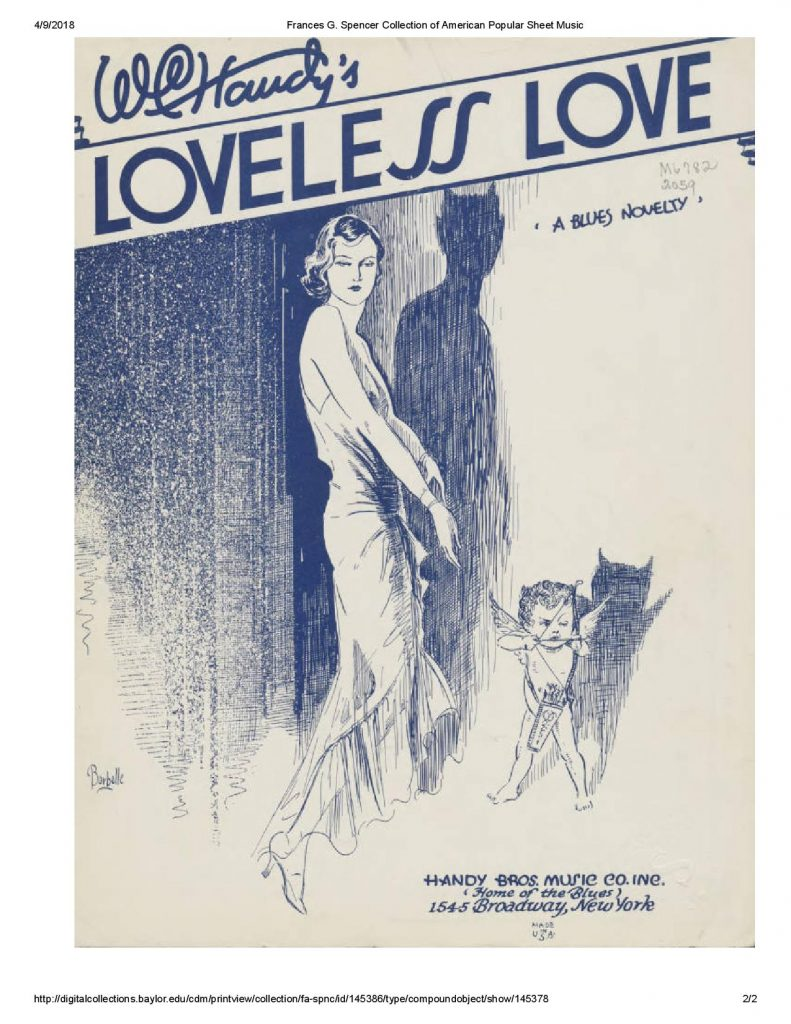 """Cover page to sheet music of W. C. Handy's """"Loveless Love"""""""