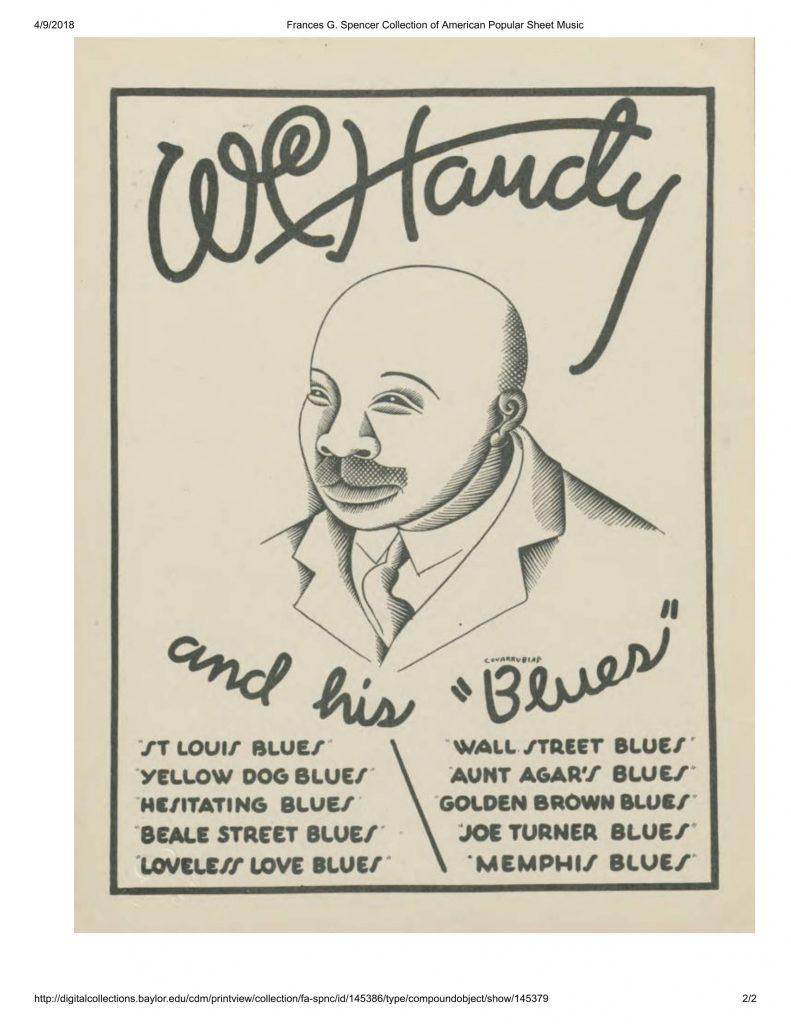 """Inside cover to sheet music of W. C. Handy's """"Loveless Love"""""""